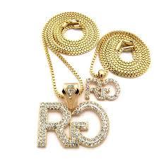 gold pendant chain necklace images Men 39 s hip hop rich gang cz stone pendant chain necklace gold JPG