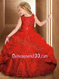 2014 luxurious scoop red pageant dresses beading