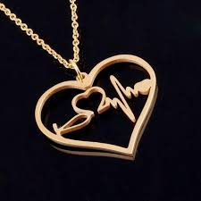 heart charm pendant necklace images Nurse medical stethoscope heartbeat heart charm pendant necklace jpg