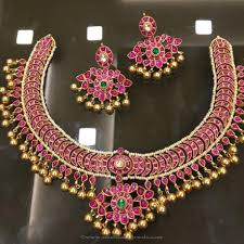 gold plated silver necklace images Gold plated pure silver ruby necklace south india jewels jpg