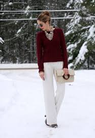 6 white dress pants with burgundy sweater and a statement necklace