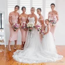 off shoulder tea length bridesmaid dresses online off shoulder
