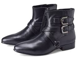double buckle pointed toe black boots mens ankle boots genuine