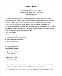 Resume Examples For Daycare Worker Teaching Assistant Resume Educational Resume Examples English