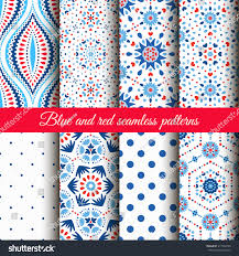 blue floral patterns on white stock vector 411938149