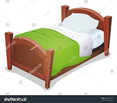boys and girls bed wood bed green blanket illustration cartoon wooden stock vector