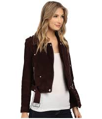 moto jacket blank nyc burgundy suede moto jacket in morning after at zappos com