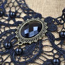 rhinestone choker collar necklace images Steampunk black lace beads rhinestone choker collar necklace gothic jpg