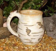 earthy birch tree bark coffee mug stoneware pottery made to order