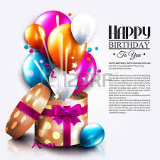 birthday card with open gift box balloons and magic light
