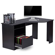 Computer Desk With File Cabinet Devaise Corner Computer Desk With Bookshelves And File