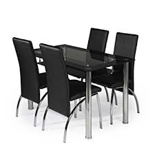 MODERNIQUE Glass Dining Table And  Chairs Set Table Size  Cm - Black glass dining room sets