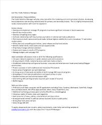 public relations job description job description pr public
