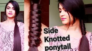 indian hairstyles for medium to long hair side knotted ponytail