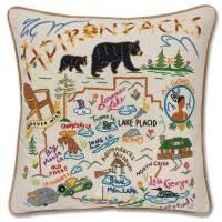 embroidered geography pillows