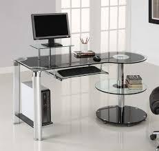 Glass White Desk by Furniture Delightful Corner Glass Office Desk And Beige Swivel