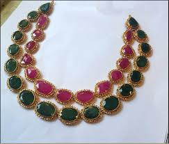 emerald gold necklace images Double layer gold ruby emerald necklace emerald necklace png