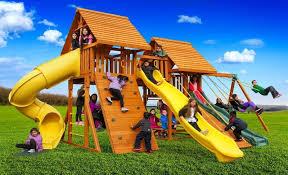 Kids Backyard Play Set by Fantasy Wooden Playset B Best In Backyards