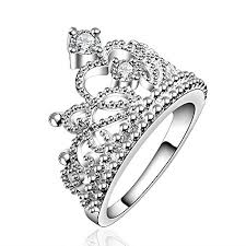 crown wedding rings 925 sterling silver princess crown ring with cubic zirconia inlaid