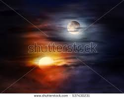 picture sun moon on cloudy sky stock photo 537430231