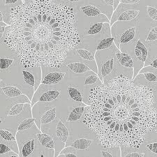 shirazi silver bohemian floral wallpaper contemporary