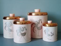 vintage style kitchen canisters vintage pink and copper nesting rooster canisters by ransburg