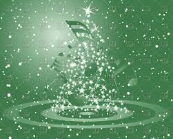 green christmas background with musical notes and fir tree vector