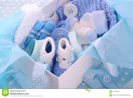 its a boy blue baby shower gift box stock photo image 57045970