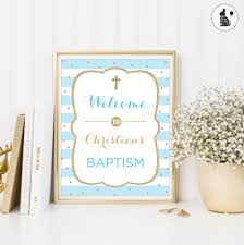 baptism welcome sign blue and gold welcome sign christening