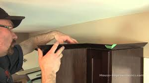 Molding On Kitchen Cabinets How To Install Cabinet Crown Molding Youtube