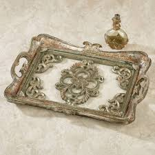 Vanity Trays For Perfume Mirrored Vanity Tray U0026 Other Mirrored Bathroom Accessories Silver