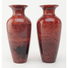 lot of two 10 1 2 u201d maroon swirl patterned art glass vases a very