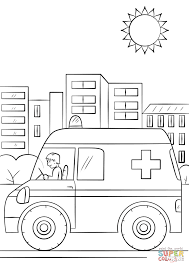 cartoon ambulance car coloring page free printable coloring pages