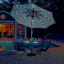 Patio Umbrella Fan by Coral Coast 9 Ft Steel Solar Lighted Push Button Tilt Patio