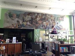 library mural painstakingly restored at thomas jefferson high school