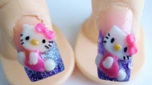 hello kitty acrylic nail design 3d purple glitter kawaii youtube