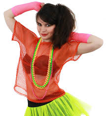 ladies 80s mesh top fancy dress accessory with neon beads green