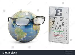 world sight day concept eyeglasses earth stock illustration