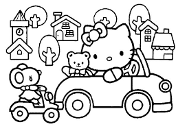 kitty driving car town coloring pages place