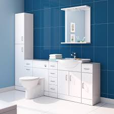 Modern White Bathrooms by Ibathuk Tall Gloss White Bathroom Cupboard Reversible Storage