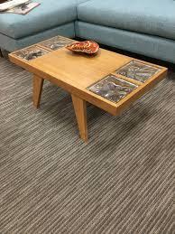 vintage mid century modern coffee table vintage mid century blond wood coffee table with glass inlay loft 63