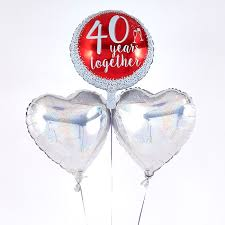 heart balloon bouquet 40th anniversary ruby wedding balloon bouquet inflated