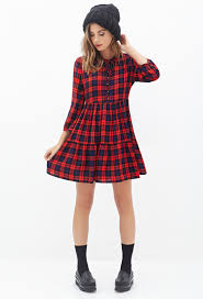 plaid babydoll dress forever21 2000118259 style