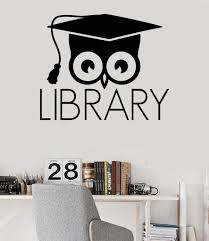 Owl Wall Sticker Vinyl Wall Decal Library Books Bookworm Academic Owl Scientific
