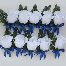 royal blue boutonniere bud boutonniere with satin ribbon