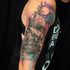 most amazing watercolor tattoo of a ship tattoos pinterest