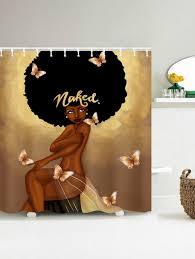 Fashion Shower Curtains Afro Hair Fashion Have A Bath Shower Curtain Coffee Cm In