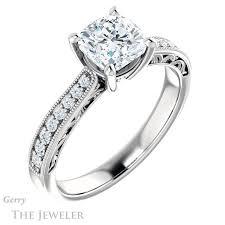gold cushion cut engagement rings cushion cut engagement ring setting gtj1152 cushion w gerry the