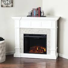 Fire Sense Electric Fireplace - electric fireplace with mantel and multicolor stone facade full