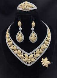 zirconia necklace set images Stunning detailed petals gold silver mix zirconia bridal wedding jpg